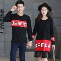 Igsoo - Couple Matching Letter Long-Sleeve T-shirt / Fringed T-shirt Dress