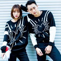 Igsoo - Couple Matching Batwing Knit Top