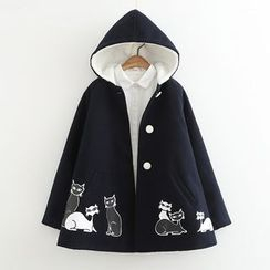 Angel Love - Cat Print Hooded Jacket