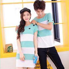 CASSY - Short-Sleeve Striped Couple Matching T-Shirt / Dress