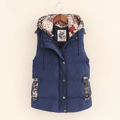 Mocha - Patterned Panel Padded Hooded Vest