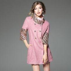 歐依潮派 - 羊毛混紡七分袖拼接外套