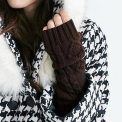 BAIMOMO - Cable-Knit Fingerless Gloves