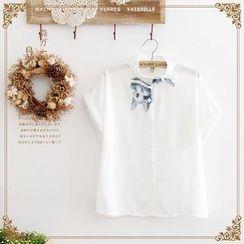 Forest Girl - Cat print Chiffon Shirt