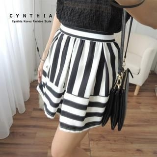 CYNTHIA - Striped Panel Skirt
