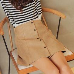 Morever - Buttoned A-Line Skirt