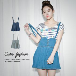 CUTIE FASHION - A-Line Denim Jumper Skirt