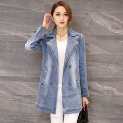 Romantica - Double-Breasted Denim Trench Coat