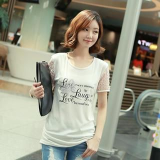 CLICK - Lace Sleeve Embellished Print T-Shirt