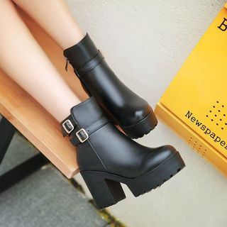 Shoes Galore - Block Heel Buckled Ankle Boots