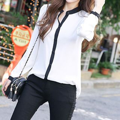 Champi - Piped Open Placket Long-Sleeve Blouse