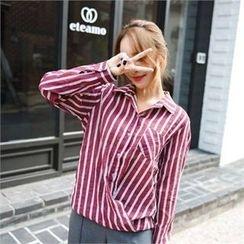 clicknme - Convertible-Hem Striped Cotton Shirt
