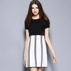 Cherry Dress - Mock Two-piece Short-Sleeve Pinstriped Panel Dress