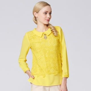 O.SA - Crochet-Overlay Button-Back Blouse