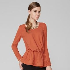 O.SA - Square Neck Gathered-Waist Top