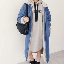 DANI LOVE - Fleece-Lined Long Denim Coat