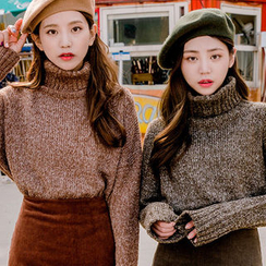 chuu - Turtle-Neck Mélange Sweater