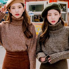 chuu - Turtle-Neck Mélange Sweater