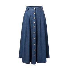 Chicsense - A-Line Denim Long Skirt