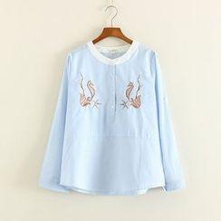 Mushi - Seahorse Embroidered Striped Half Placket Shirt