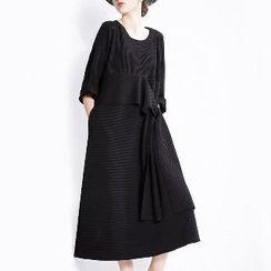 Halona - Tie-Waist Midi Dress