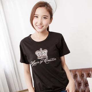 RingBear - Crown & Letter-Print T-Shirt
