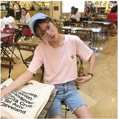 YOSH - Peach Embroidered Short Sleeve T-Shirt