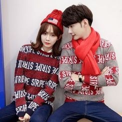 Je T'aime - Couple Matching Letter Stripe Knit Top