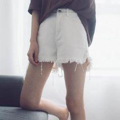 时尚麻豆家 - 散摆牛仔短裤