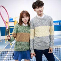 Je T'aime - Couple Matching Melange Colour Block Knit Top