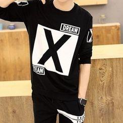 AFAM - 套裝: 印花長袖T恤 + 運動褲