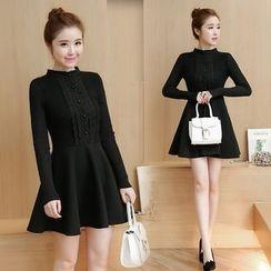 Romantica - Long-Sleeve Paneled A-Line Dress