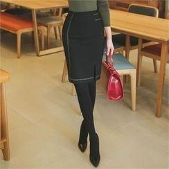 ode' - Stitch-Trim Slit-Front Pencil Skirt
