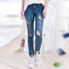 Moriville - 做旧窄身牛仔裤