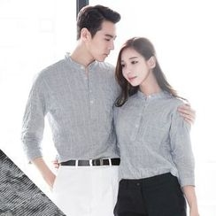 DANGOON - Couple Mandarin-Collar Crinkled Shirt