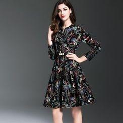 Elabo - Printed 3/4-Sleeve A-Line Dress