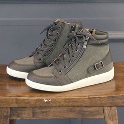 DANI LOVE - Hidden-Heel Buckled High-Top Sneakers