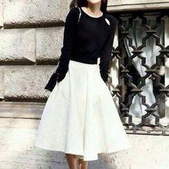 Cherry Dress - Set : Long-Sleeve Cutout Knit Top + Midi A Line Skirt