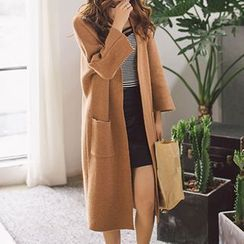 Queen Bee - Open Front Knit Long Jacket