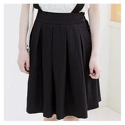 Sechuna - Suspender A-Line Pleat Skirt