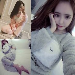 Happy Bird - Pajama Set: Long-Sleeve Fleece Top + Pants