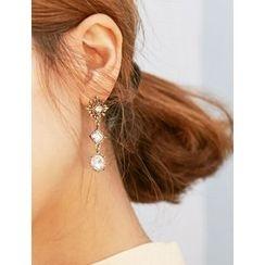 FROMBEGINNING - Rhinestone Dangle Earrings