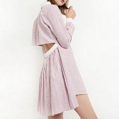 Obel - Cut Out Back Pinstriped Shirtdress