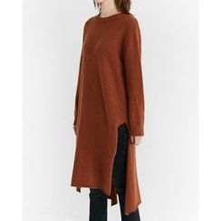 Someday, if - Slit-Side Wool Blend Long Knit Dress