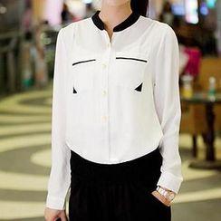 Neeya - Mandarin Collar Chiffon Blouse