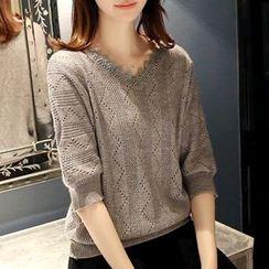 Ageha - Elbow Sleeve V-Neck Pointelle Knit Sweater
