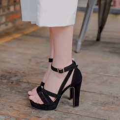 Shoes Galore - Strappy High Heel Platform Sandals