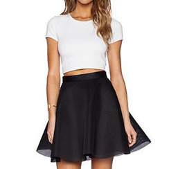 Persephone - Set: Short-Sleeve T-Shirt + Mesh A-Line Skirt