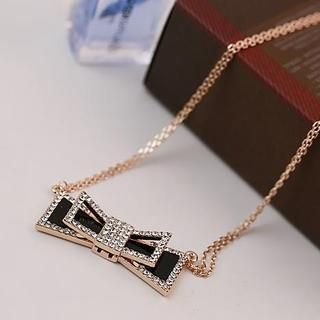 Love Generation - Rhinestone Bow Necklace
