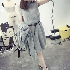 FR - Set: Sleeveless Chunky Knit Dress + Long Cardigan